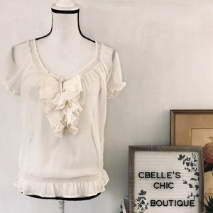 Abercrombie & Fitch Boho Sheer Cream Ruffle Blouse